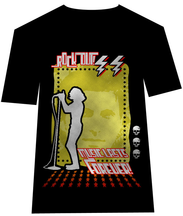 design a retro rock t shirt design - Designing T Shirts At Home