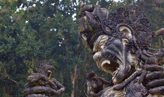 Kumbakarna Laga statue in Eka Karya Botanical Garden, Bedugul, Bali, Indonesia