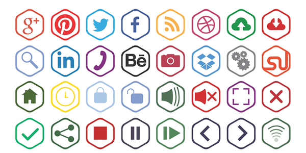 Outline Icons with a Particular Hexagonal Shape