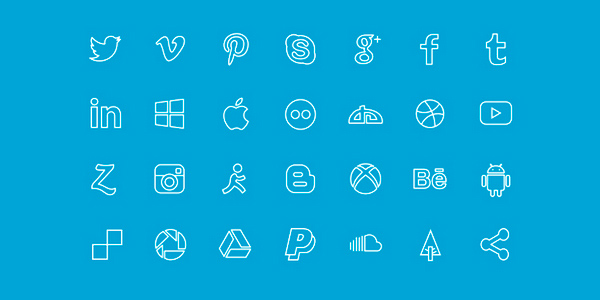Social Line Icon Set