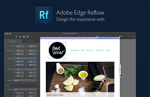 Adobe rolls out preview of 39 edge reflow 39 web design tool for Website planning tool