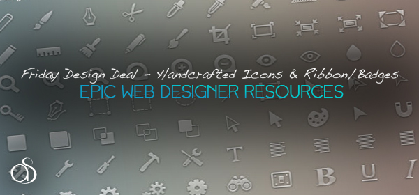 Friday Design Deal – 590+ Handcrafted Icons & Ribbon/Badges Set – only $10!