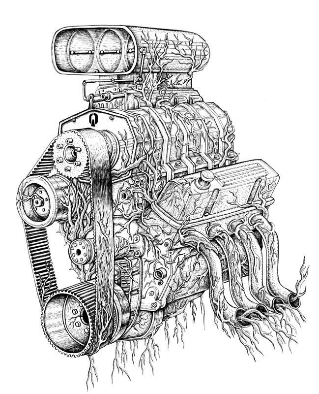 How To Draw A Car Engine Wonderful Drawing Of Blower