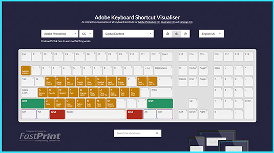 Adobe Shortcut Visualizer is the Browser-Based Tool that Maps Hundreds of Photoshop, Illustrator and InDesign Keyboard Shortcuts