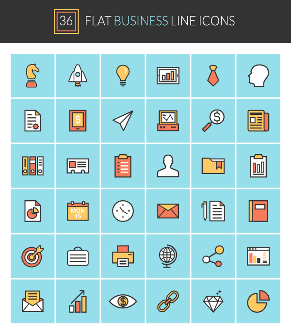 36 FREE EXCLUSIVE VECTOR ICONS: FLAT BUSINESS LINE ICONS