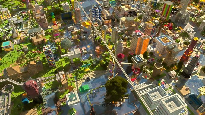 A Minecraft city.