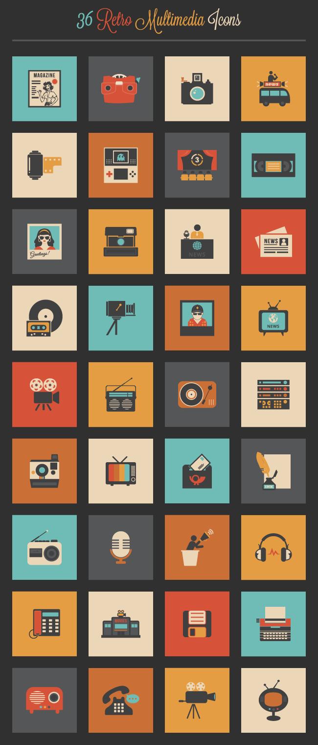 retro-multimedia-icon-set