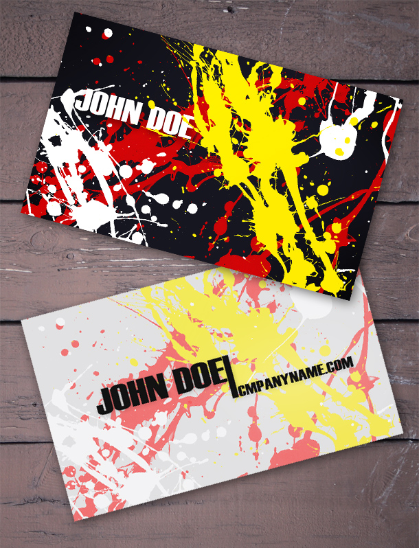 25 fascinating psd business card templates splatter business cards wajeb Image collections