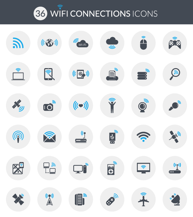 36 FREE EXCLUSIVE VECTOR ICONS: WIFI CONNECTIONS ICONS