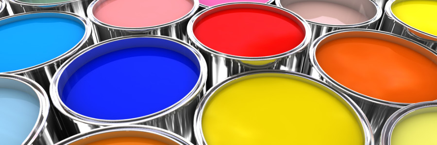 3d image of different color paint ink tank background