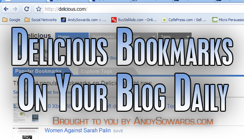 Use delicious to automate blog posts to wordpress using daily bookmarked links from your account! Brought to you by AndySowards.com