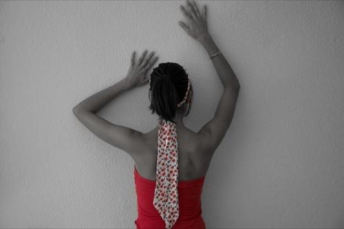 Selective girl near wall