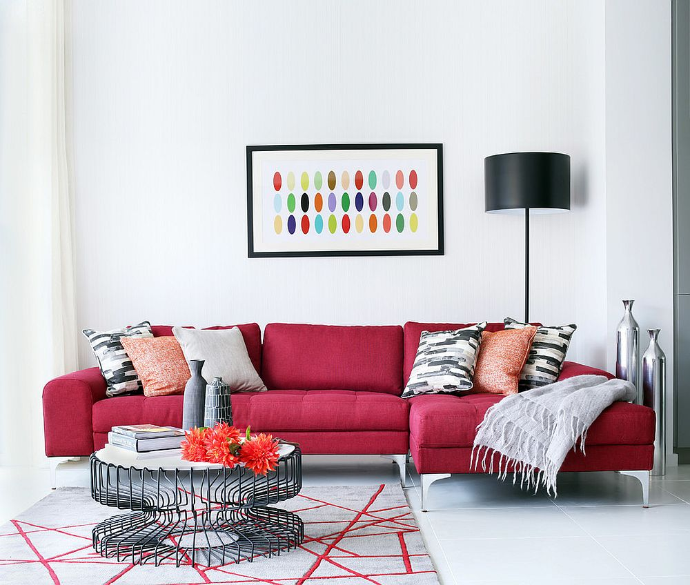 Exquisite-dark-red-sofa-brings-vivaciousness-to-the-white-living-room