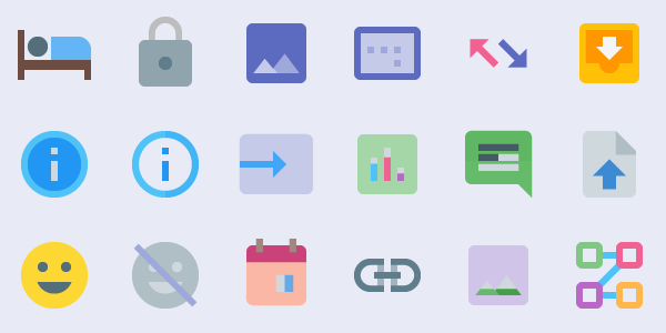 Material Design Icons: Colorful Elements Following Google's Latest Visual Initiative