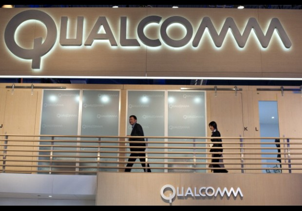 Qualcomm Inc. signage hangs in the company's booth at the 2012 International Consumer Electronics Show (CES)