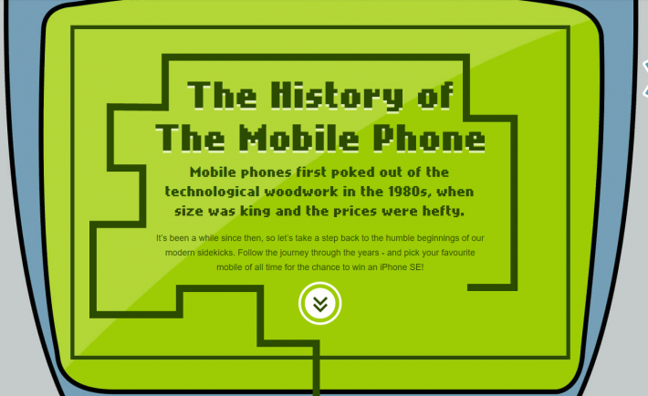 The-History-of-Mobile-Phones-pixel-interactive-infographic-single-page-design