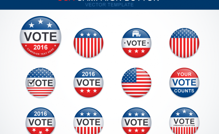 Free Exclusive Vector Illustration Presidential Campaign Button Template