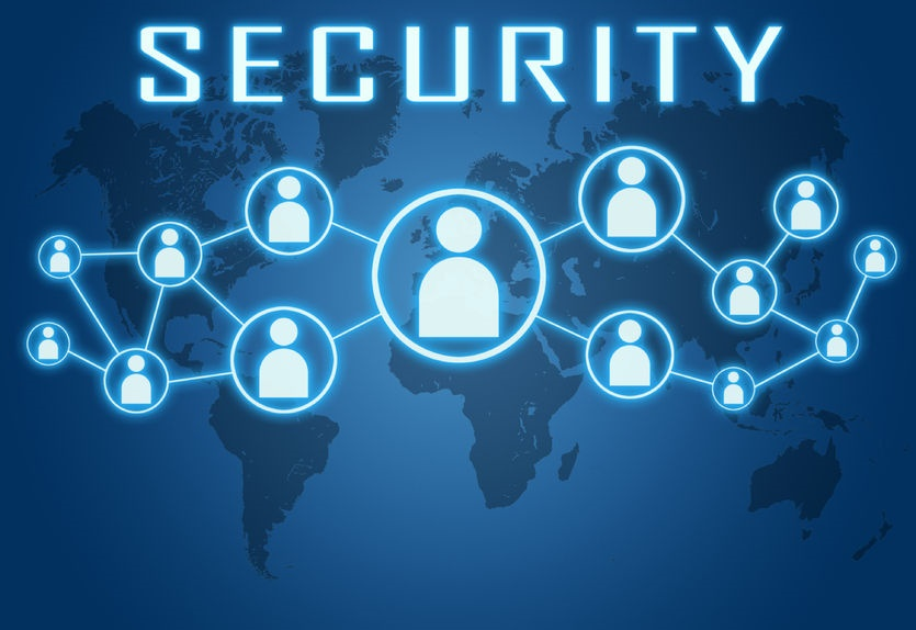 34122525 - security concept on blue background with world map and social icons.