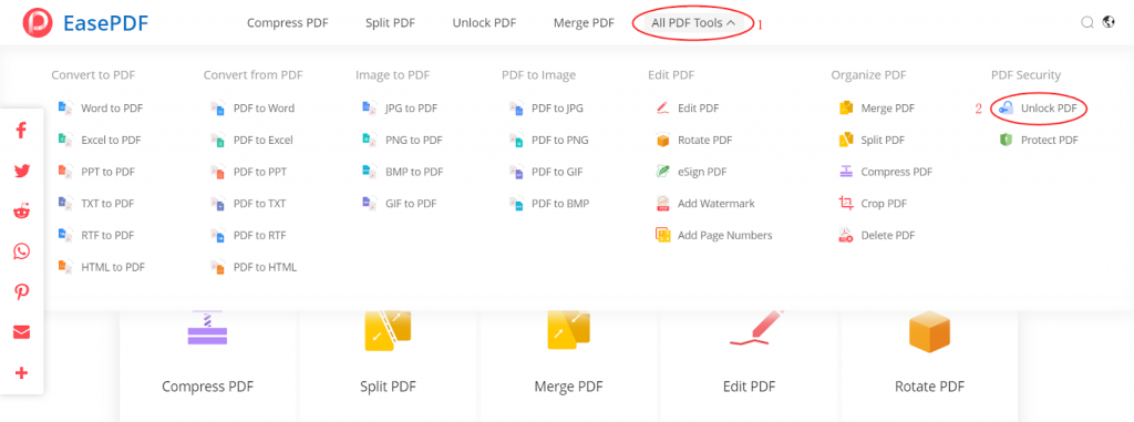 EasePDF Homepage All PDF Tools Unlock PDF