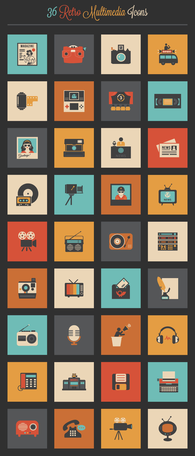 retro-multimedia-icon-set