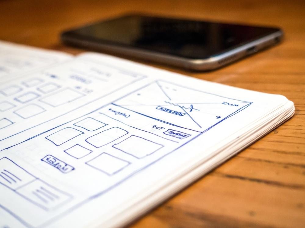 open, sketch, wireframe, web, design, notebook