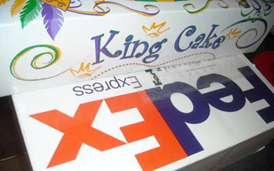 The King Cake Has Arrived! via FedEx! Time to Indulge!